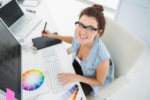 woman editing photos