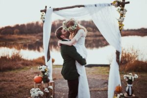 Couple kissing on their wedding day
