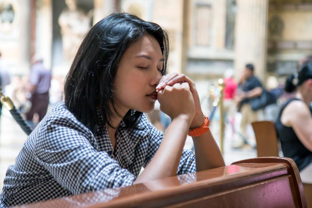 woman praying concept