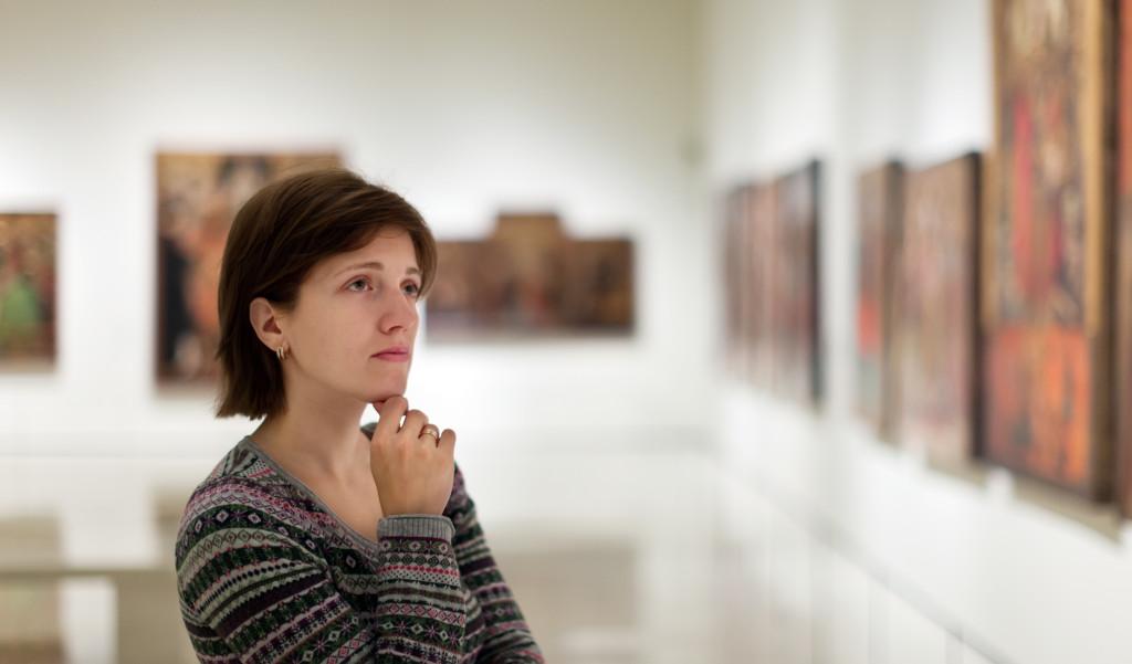 admiring art paintings